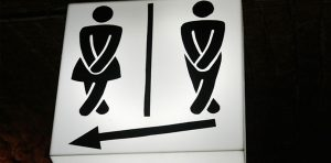 A unisex sign with images of urgency