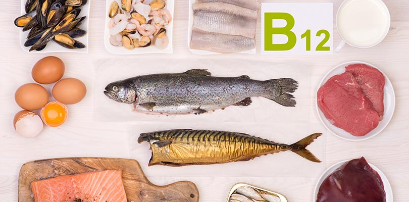 Numerous vitamin b12 sources are on a table