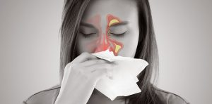 A woman has nasal congestion