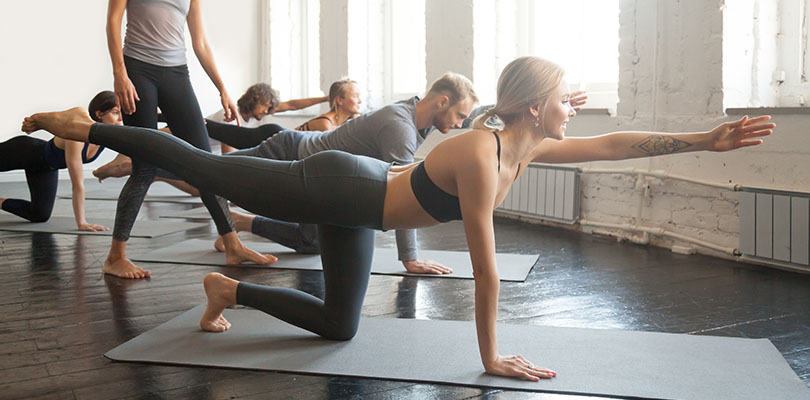 A pilates class is in session