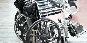 A couple of wheelchairs are lined up